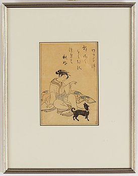 Suzuki Harunobu (1724/25-70), after, a colour woodblock print, Japan, late 19th/early 20th century.