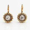 A pair of 18k gold earrings with old-cut diamonds ca. 0.60 ct in total. pirkan kulta, tampere 1950.