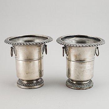 A pair of 19th century silver plate wine coolers, Meyerhoff, Vienna, Austria.