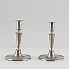 A pair of swedish pewter candlesticks by adolph helledaij, jönköping 1785.