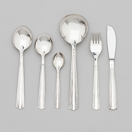 Holger rasmussen, a 41-piece set of 'margit' silver cutlery, hämeenlinna ja helsinki 1964-68.