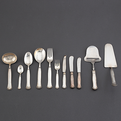 A swedish silver cutlery service, 'louise', sven carlman for cf carlman, stockholm 1950-60s (103 pieces).