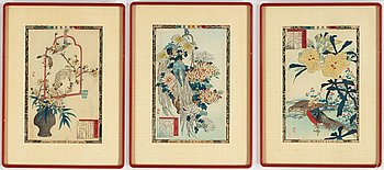 Bairei Kono (1844 - 1895), three coioured woodblock prints, Japan, second half of the 19th century.