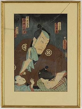 Kunichika samt Toyokuni III, färgträsnitt, 3 st. Japan, 1800-tal.