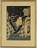 Kunichika and toyokuni iii, three coloured woodblock prints, japan, 19th century.