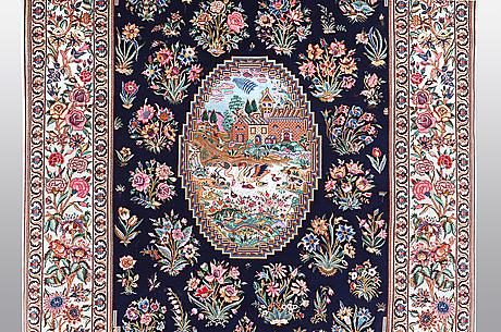 Matta isfahan, part silk, ca 206 x 142 cm signerad: hussien rahimi.