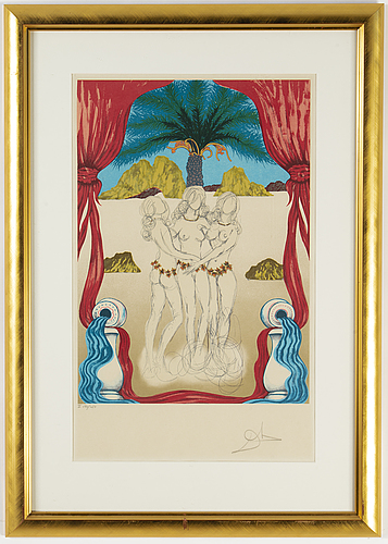 Salvador dalí, lithograph in colours. signed and numbered i 190/250.