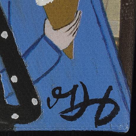 Marika lang, mixed media on print, signed.