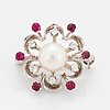 Cultured pearl, brilliant-cut diamond and ruby brooch.