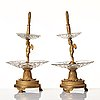 A pair of french empire early 19th century gilt bronze and glass centre pieces in the manner of pierre philippe thomire.