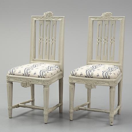 A set of six swedish gustavian chairs, ca 1800.