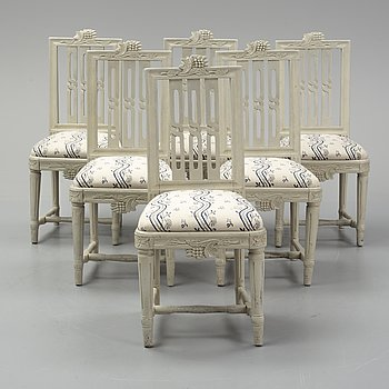 A set of six swedish gustavian chairs, ca 1800.