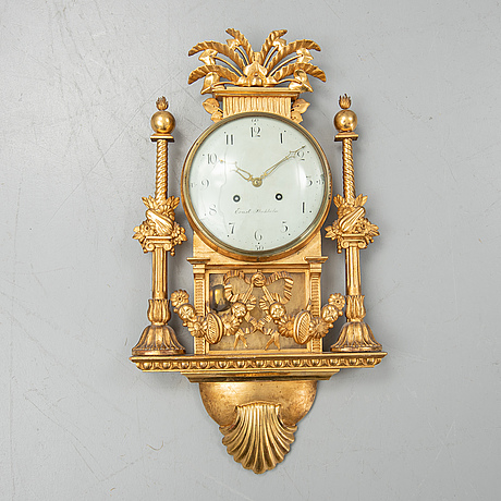A late gustavian wall clock by petter ernst, stockholm, (master 1753-1784).