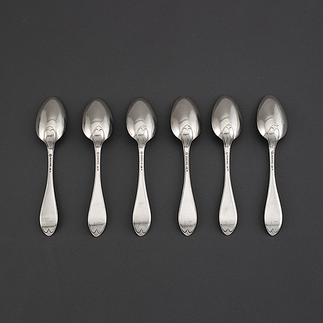 A set of six swedish 19th century silver spoons, mark of lars magnus holm, kristianstad 1822.