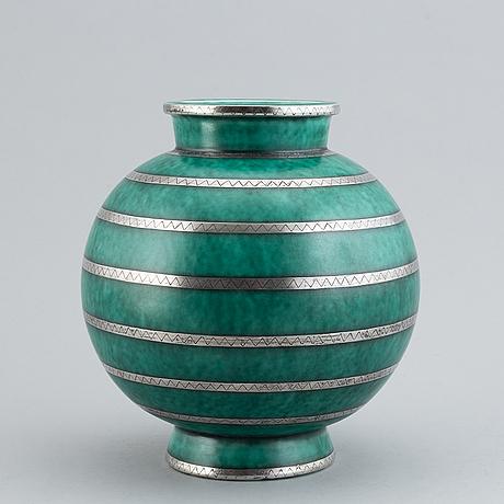 """Wilhelm kåge, an """"argenta"""" stoneware vase, gustavsberg, sweden."""