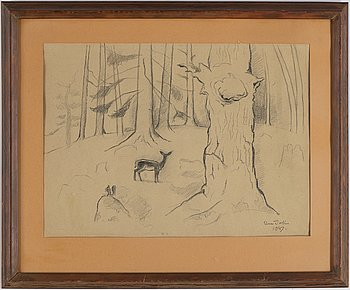 Einar Jolin, pencil drawing, signed and dated 1947.