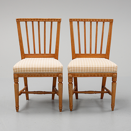 A pair of gustavian chairs, early 19th century.