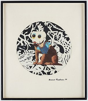 Bruno Knutman, mixed media/collage, signed and dated -88.