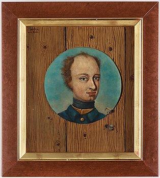 """Zoltan von Boer, Zoltan von Boer, oil on panel, signed Zolatn von Boer. """"Karl XII"""". Pannå 27,5 x 24 cm."""