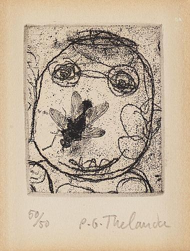 Pg thelander, etsning, 1974, signerad 50/50.