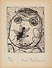 Pg thelander, etching, 1974, signerad 50/50.