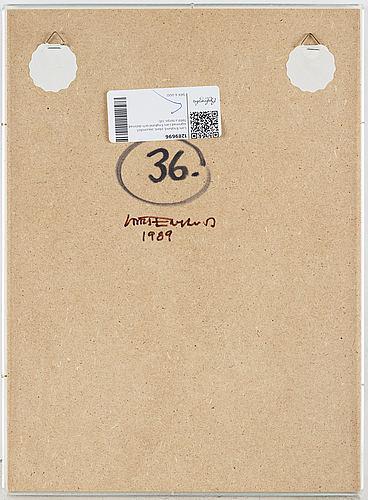 Lars englund, plastic, aquarelief, signed lars englund and dated 1989 verso.