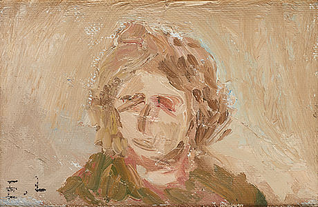 Evert lundquist, oil on canvas/paper-panel, signed e.l.