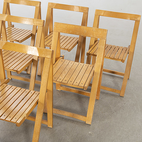 A set of six folding chair by aldo jacober for bazzani, italy 1970:s.
