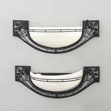 Vägglampor ett par art nouveau-stil 1900-talets slut.