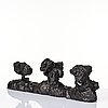 Peter frie, darkpatinated bronze sculpture with two candle holders.