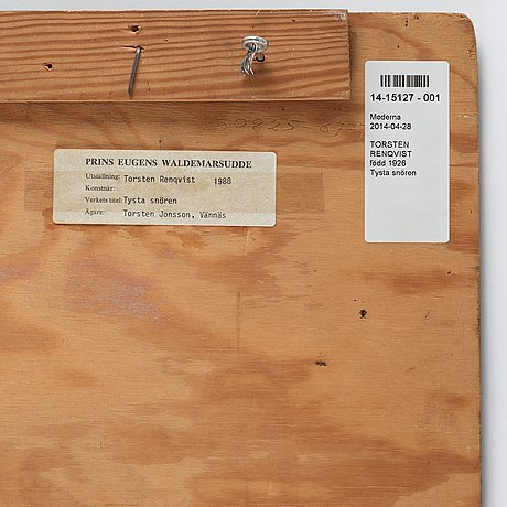 Torsten renqvist, egg oil tempera on panel, signed monogram and dated -65.