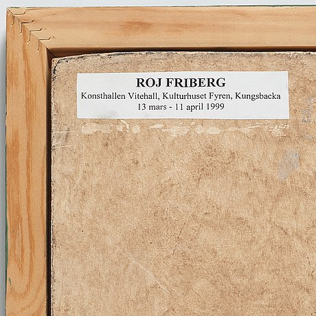 Roj friberg. mixed media on panel, signed with monogram and dated -99.