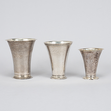 Three swedish silver beakers, including carl fahlberg, uppsala 1765.
