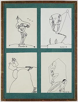 Hans Viksten, 4 framed indian ink drawings, signed and dated -70, -72, -74, -78.