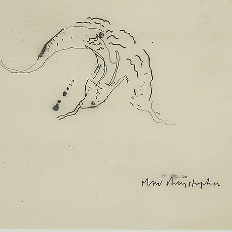 Olav christopher jenssen, indian ink on film, signed, dated 14 februari 1991.
