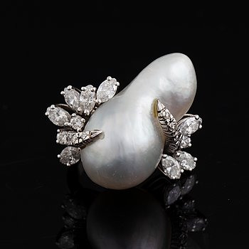 Baroque pearl and navette-cut and brilliant-cut diamond ring.