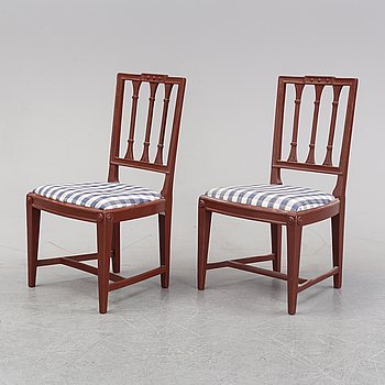 A pair of late Gustavian chairs by Ephraim Ståhl, Stockholm 1797-1820).