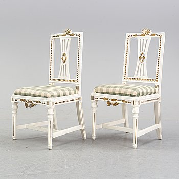 A pair of late Gustavian chairs, end of the 18th Century.