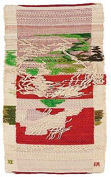214. Kaisa Melanton, a textile, flat weave, ca 81,5 x 47-49,5 cm, signed HAV KM.