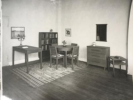 """Axel einar hjorth, a """"sport"""" stained pine framed mirror, nordiska kompaniet, sweden 1930's."""