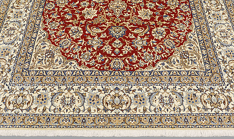 A carpet, nain part silk so called 9laa, ca 317 x 202 cm.
