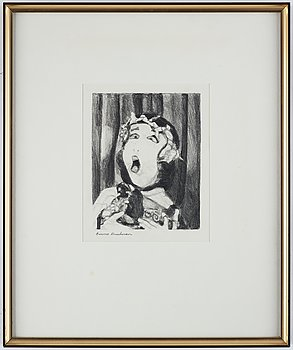 Bruno Knutman, pencil drawing, signed.