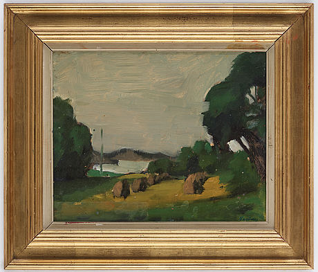 Sixten lundbohm, oil on paper laid on panel, signed, dated 1941 on verso.