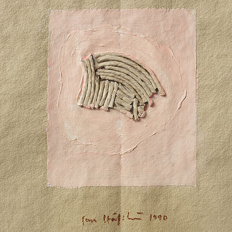 Jan håfström, mixed media, signed and dated 1990.