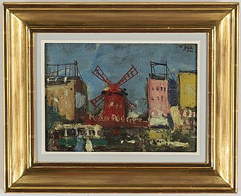 Francois Gall, oil on paper-panel, signed, Paris.