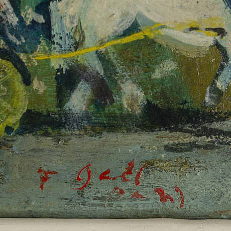 Francois gall, oil on paper-panel, signed and dated -29.