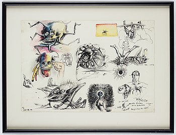 Ulf Rahmberg, mixed media on paper, signed and dated -79 on verso.