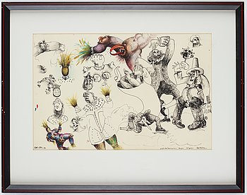 Ulf Rahmberg, mixed media on paper, dated dec XXII -83. On verso signed with monogram.