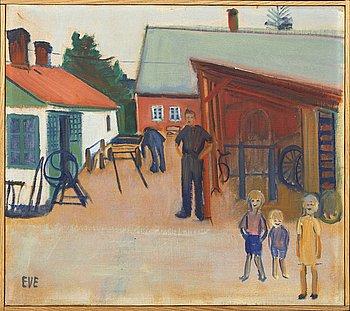 Eve Eriksson, olja på pannå, signerad och daterad a tergo 1941.