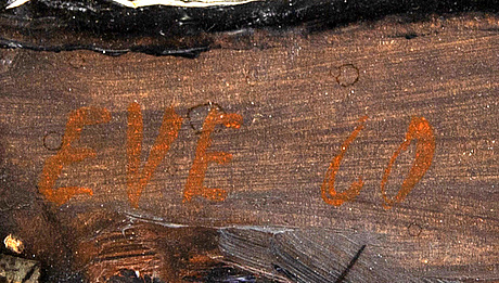 Eve eriksson, olja på pannå, signerad och daterad -60.